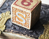Old Wooden Building Block Letters A S Number 9 6