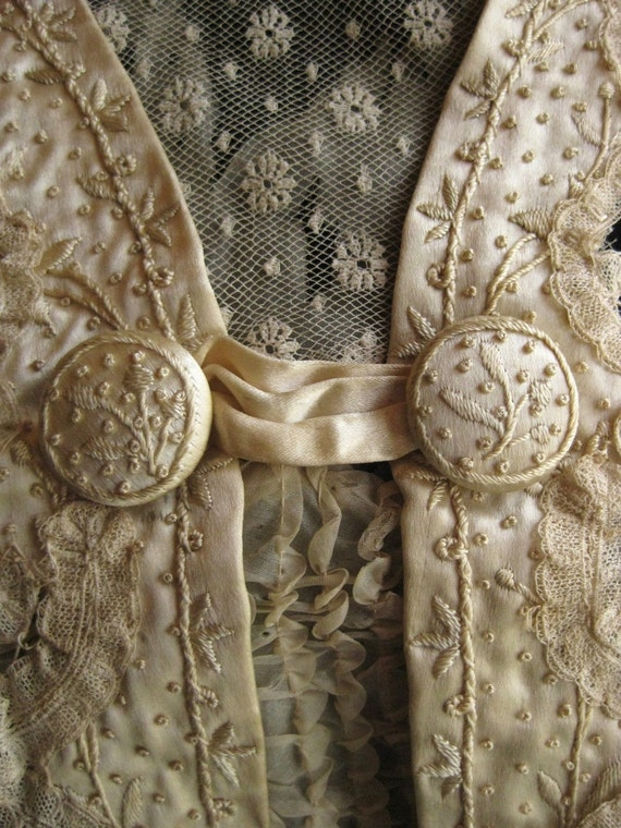 Intricately Detailed Antique Handmade Mixed Lace Bodice with Hand Embroidered Silk Trim