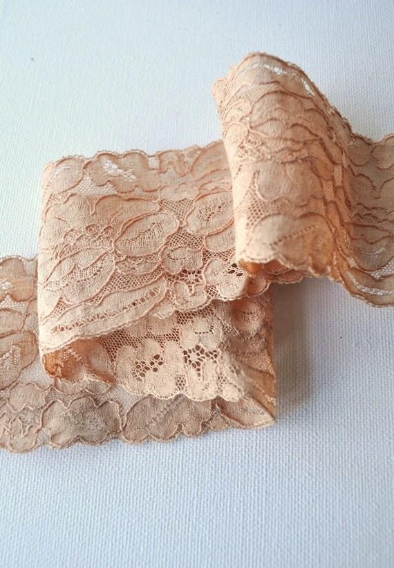 Antique Lingerie Lace Trim Wide Buff Beige Nude