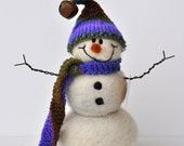Snowman - Needle Felted wool snowmen - Hand spun, hand knit scarf and hat - 4