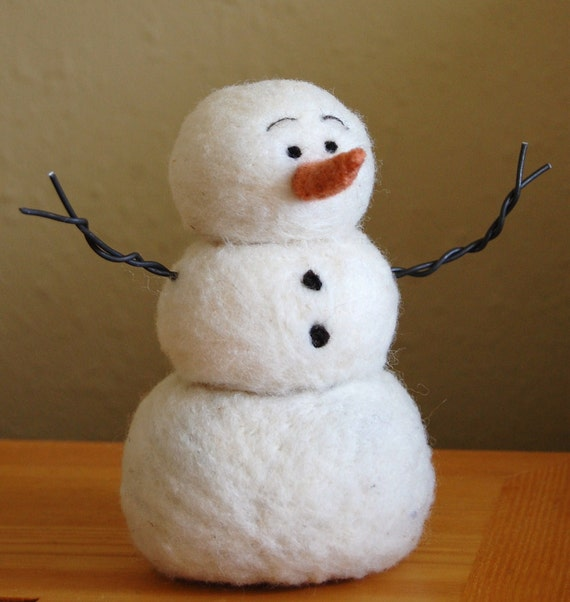 Needle Felting kit, Needle Felted Snowman instructions and supplies