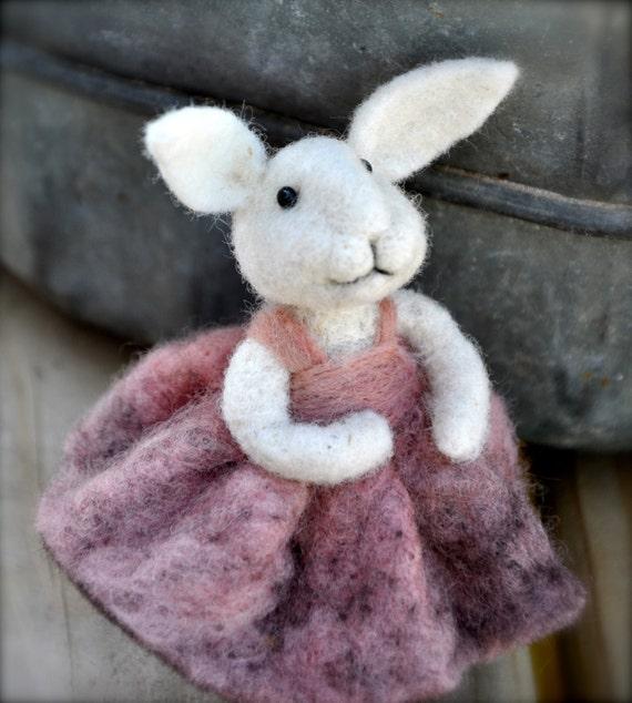 Rabbit - Needle felted animal - Bunny - Pink wool dress