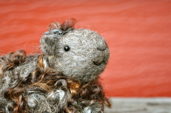 Needle Felted Sheep - Natural brown and grey wool lamb - needle felted animals