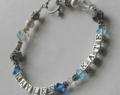 Personalized 2-Name and Birthstone Bracelet with Swarovski Crystal, Bali Beads and Sterling Silver