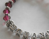 Personalized Name and Birthstone Bracelet with Swarovski Crystal and Sterling Silver