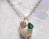 BOGO HALF OFF SALE ... Birthstone \/ Bridesmaid ... Sterling Silver, Swarovski and Freshwater Coin Pearl Necklace