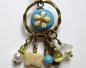 BOGO HALF OFF SALE ... CHARMING ..... OOAK Antiqued Brass Lampwork and Charm Necklace