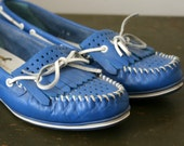 vintage Cobalt Blue Nautical Loafers- 7 M