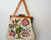 vintage 70s Floral Crewel Purse with Lucite Chain Handle and Kiss Closure