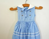 vintage 60s Little Girls Baby Blue and White Nautical Sailor Dress with Ascot
