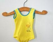 vintage 60s Girls Little Fishes Lemon Yellow Bathing Suit