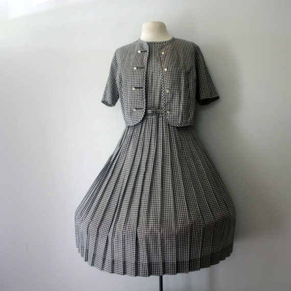 vintage 50s Black and White Gingham Picnic Dress with Matching Bolero- M L