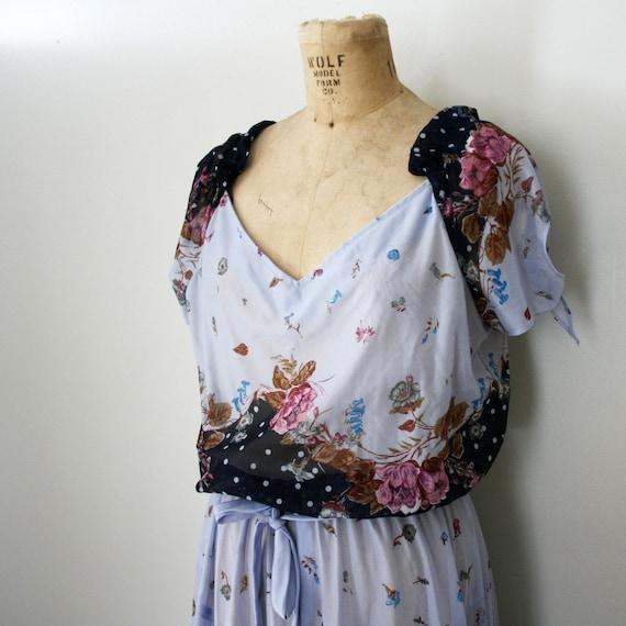 vintage 70s Sheer Periwinkle Dream Floral Print Dress with Side Tie Sleeves