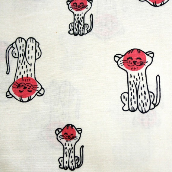 Vintage 50s Cute Pink Face Polka Dot Kittens Cat Fabric- 36w
