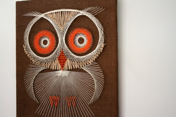 vintage 70s Big Eyed Hoot Owl String Art Wall Hanging