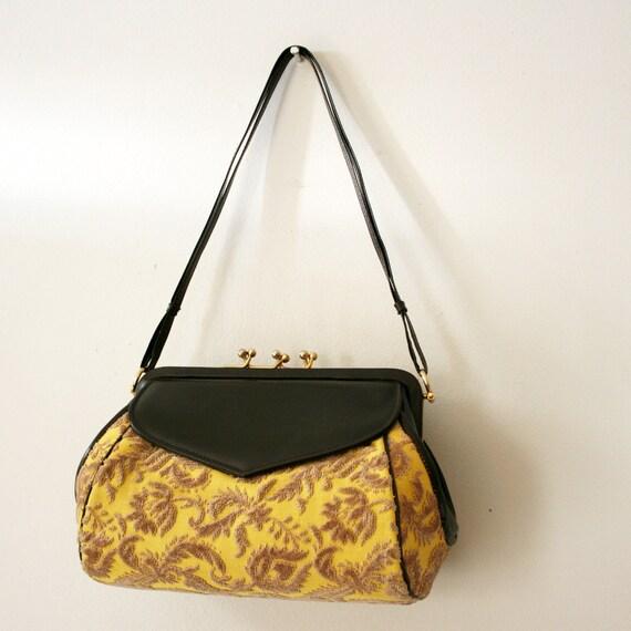 vintage 50s Lemon Yellow Floral Tapestry Triple Kiss Closure Handbag