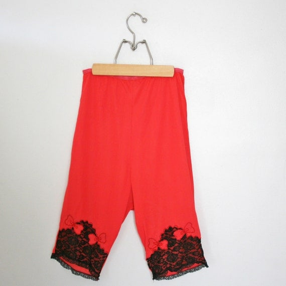 vintage 60s Red Bow Applique and Black Lace Nylon Pettipants