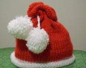 Baby Hat, Red and White Baby Hat,  Handknitted Pom-Pom Baby Hat,  Gift for Baby,  Gift for New Mom,  by hipknitta