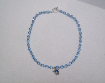 hipknitta's Necklace Vintage Blue Glass and Silver Beaded I'm a Little Teapot Necklace