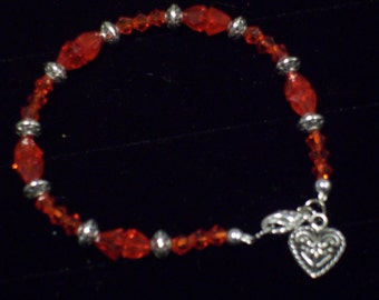 Red Vintage Glass Beads and Crystals Heart Charm Bracelet by hipknitta