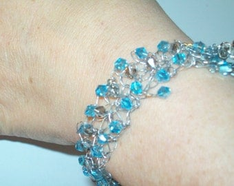 Blue and Gray Crystals & Silver Wire Handknitted Bracelet by hipknitta