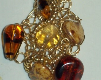 hipknitta's Tiger's Eye and Glass/Stone Beaded Wire Handknitted Scribble Necklace