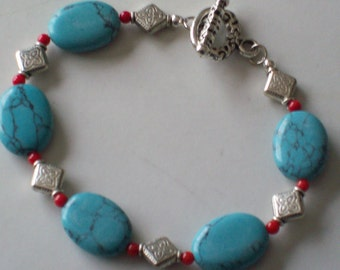 Silver, Red and Turquoise-Colored Stone Bracelet Gift for Her