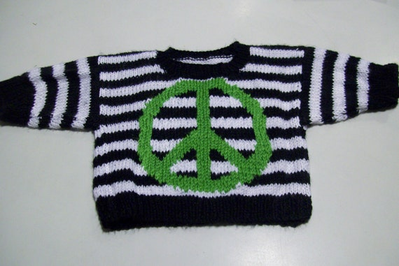 Black White Green Striped Peace Sign Handknitted Baby Sweater Gift for Baby Gift for New Mom by hipknitta