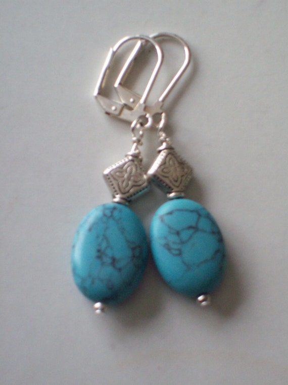 hipknitta's Silver and Turquoise-Colored Stone Earrings - French clip