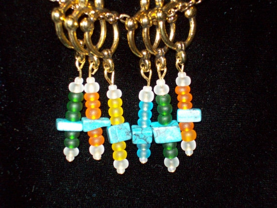 Blue Green Orange Yellow Stitch Markers Rainbow-Colored Gift for Knitter by hipknitta