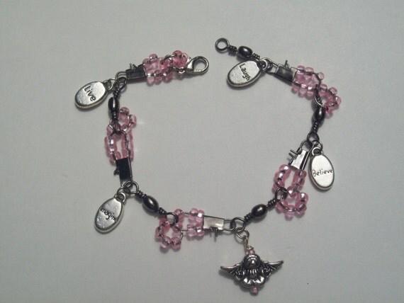 hipknitta's Charm Bracelet Pink Beaded Inspiration Angel Charm Bracelet