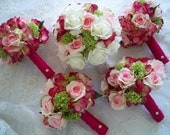 Fuchsia Green Package Set of Silk and Realtouch Wedding Bridal Bouquets and Boutonnieres