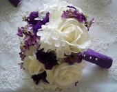 Silk Flower Bridal Bouquet with Realtouch Roses and Purple Silk Anemone