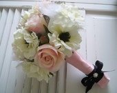 Blush Pale Pink Roses and Cream Anemone Bridal Bouquet Set