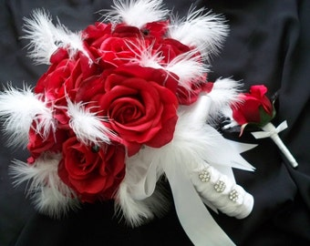 Open Silk Red Roses with Fluffy White Feather Bridal Bouquet Set