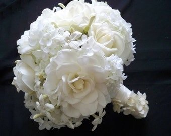 Realtouch Wedding Bouquet of Real touch Gardenias  Roses and Stephanotis and Matching Boutonniere