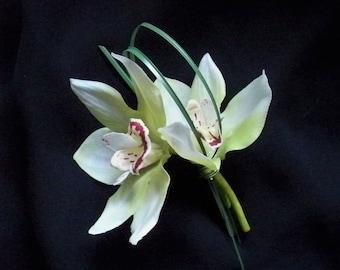 Green Cymbidium Orchid Boutonniere