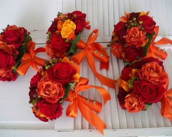 Orange and Red Autumn and Fall Rich and Romantic Bridal Bridesmaids Boutonniere Destination Wedding Bouquet Set