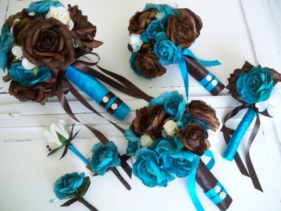 Brown And Teal Wedding Ideas: Items Similar To Turquoise And Chocolate Brown Bridal