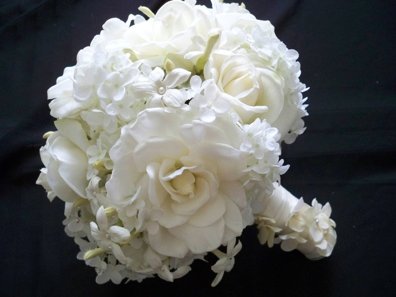 Realtouch wedding bouquet of real touch gardenias roses and for Wedding bouquets