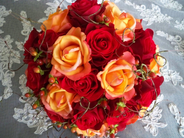 Fall Wedding Bouquets Fake : Silk flower red orange bridal autumn fall wedding by
