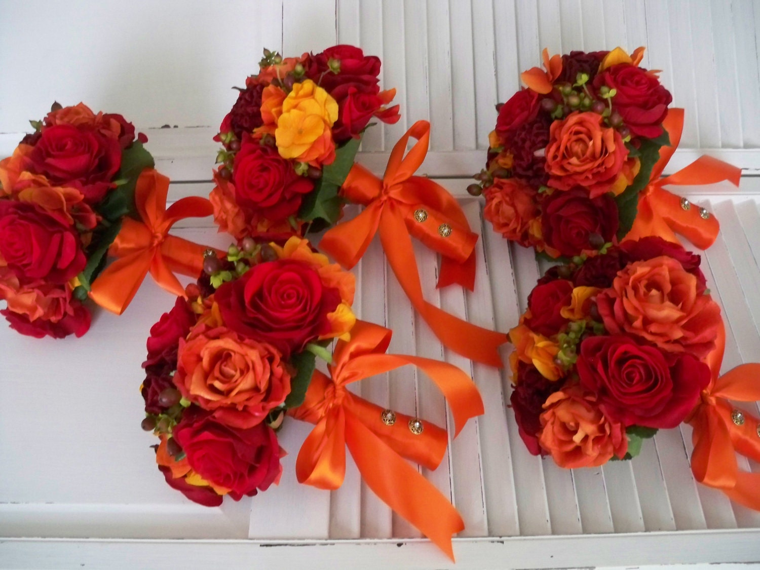 Fall Wedding Bouquets Bridesmaids : Orange and red autumn fall rich romantic bridal