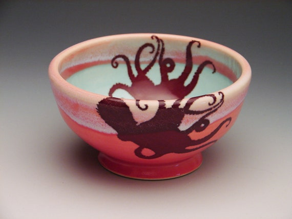 Octopus Bowl/ wheel thrown handmade