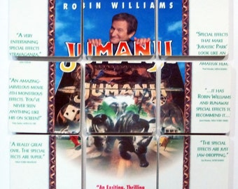 JUMANJI recycled movie laserdisc basket with 9 cover coasters