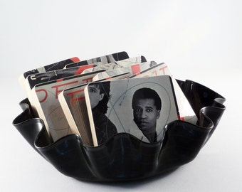 Red Rider recycled Breaking Curfew album cover handmade wood coasters and vinyl record bowl