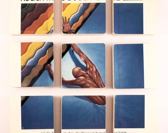 The Fixx recycled Reach the Beach album cover wood based coasters with record bowl