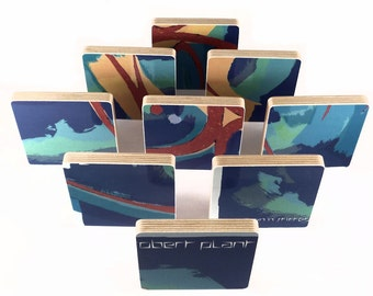 ROBERT PLANT recycled Shaken n Stirred album cover coasters with record bowl