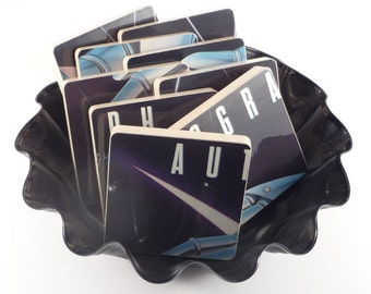 Autograph authentic recycled Sign In Please record album cover coasters & warped vinyl bowl