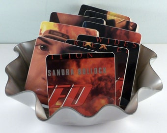 SPEED recycled album cover coasters with laser disc wacky basket