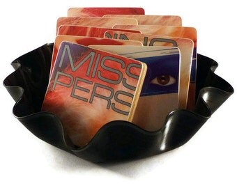 MISSING PERSONS recycled Session M album cover coasters with record bowl